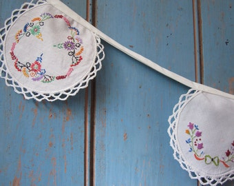 SALE...Vintage Linen Bunting. Wedding Bunting. This piece has been made from some lovely Off White pieces of embroidered Linen. 3M.