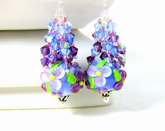 Blue Purple Floral Earrings, Crystal Dangle Earrings, Nature Inspired Jewelry, Lampwork Earrings Floral Jewelry Purple Blue Pink Glass Lydia