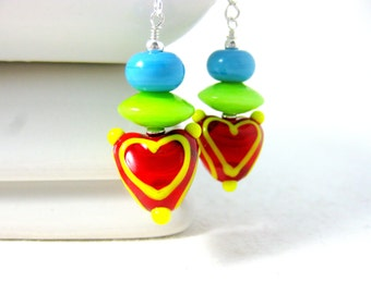 Red Heart Earrings, Colorful Glass Earrings, Geometric Earrings, Lampwork Earrings, Triangle Earrings, Red Green Blue Earrings - Love Color
