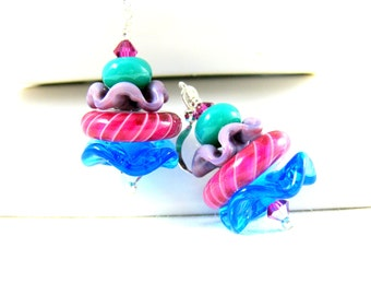 Colorful Glass Earrings, Ruffle Earrings, Funky Jewelry Whimsical Jewelry Lampwork Glass Pink Blue Teal Purple Playful Fun - Round About