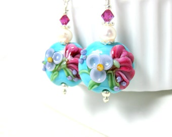 Turquoise Blue Pink Purple Floral Earrings, Garden Earrings, Nature Jewelry, Lampwork Earrings, Cottage Chic Jewelry, Pearl Dangle - Annette
