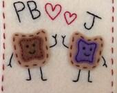 Dynamic Duos Classic PB&J Eco Felt Applique Onesie Funny Baby Shirt