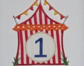 """Embroidered Iron On Applique """"Circus Tent"""""""