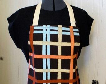 Modern Plaid Womens Apron Full Apron Chefs Apron Adjustable Apron Aqua Rust Peach Brown Handmade MTO
