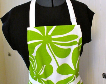 Oversized Floral Womens Apron Full Apron Chefs Apron Adjustable Apron Lime Green White Twirly  Handmade MTO