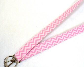 Pink Chevron Zig Zag Fabric Lanyard Breakaway Lanyard Designer ID Badge Holder Clip Key Ring Fob Zigzag MTO