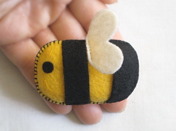 Fuzzy ECO FELT BEE: Pin, Ornament, Accessory, Soft Sculpture & Toy stuffed with Organic Cotton, Vegan Decor — Abeja, Abeille Peluche, Broche