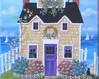 Hydrangea Hill Cottage Folk Art Print