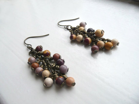 Boho Cluster Earrings Beaded Dangle Mookaite Gemstone  - Nightshade