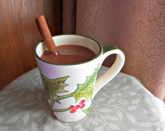 Fake Mug of Hot Chocolate or Cocoa With Cinnamon Stick Holly Theme Faux Food Photo Prop