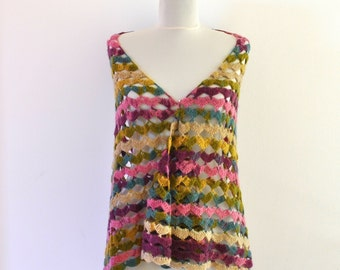 Crochet Shawl Scarf Pink Purple Ivory Blue Green Gift for Her