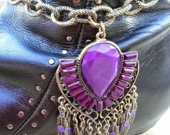 Mystic Purple Guardian Angel Wings Boot Bracelet - ONE OF A KIND!