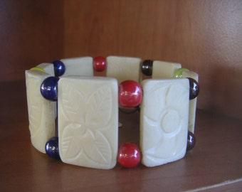 Cuff, Bracelet, carved bone, ceramic beads, handmade    BB-1