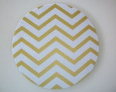 Mouse Pad mousepad / Mat - round - Shiny gold chevron - Computer Accessories Geekery Custom Desk Coworker Office Gifts - cubicle decor