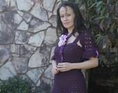 Crochet dress, Dress with bolero, Wool dress, Felt flower brooch, Crochet sexy dress, Dress and shrug, Shrug dress set, Plum dress
