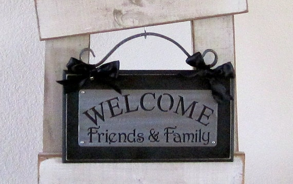 welcome Friends and Family Metal on Wood Wall Plaque with Scroll hanger