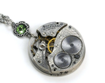 Steampunk 1908 Waltham Pocket Watch Movement Necklace