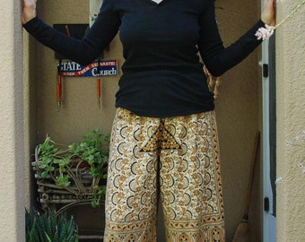 "Hippie tapestry fabric pants  - brown gold Black Elephant  -40"" long - Hips 49"" - wide legs - fits most-read measurements"