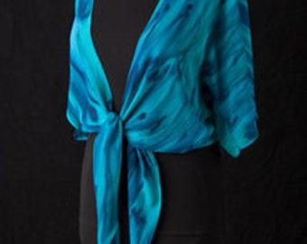 Silk Shrug Jacket, Hand Dyed Hand Painted, Ocean Reef