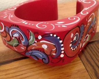 Norwegian Rosemaled cuff bracelet
