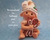 Baby with gingerbread Baby's First Christmas Ornament Baby's 1st Christmas Ornament