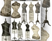 Vintage Illustrations Victorian and Edwardian  Dress Forms (2) Digital Collage Sheet Large Images Instant Printable Download