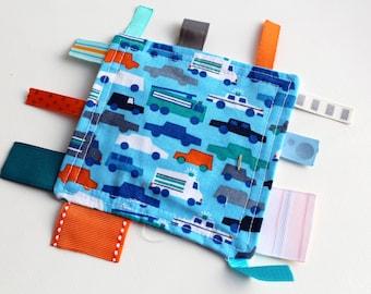 Fidget - Blue Traffic Edition - A Montessori and Waldorf Inspired Ribbon Baby Sensory Toy