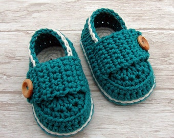 Baby boy shoes, crochet booties dark turquoise and off white, baby boy loafers ready to ship