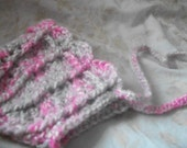 Ready to Send Sale Christmas Holiday Baby Girl Winter Bonnet  Pink and Gray Grey
