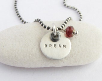 Garnet & DREAM Word Charm Necklace