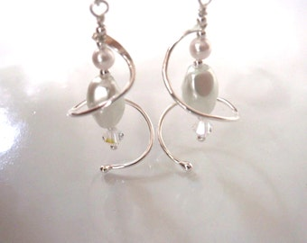 White Pearl and Silver Dangle Earrings, June Birthstone, Wedding Earrings