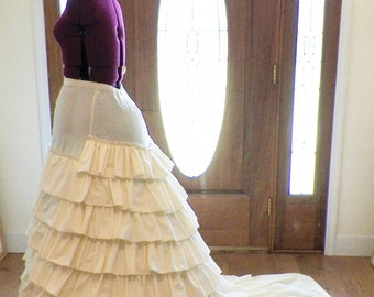 Wedding Gown Hoop Crinoline with Train Support  Victorian Civil War Ruffled Elliptical Cage Crinoline