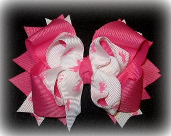 Boutique hairbow, Girls hair bows, Pink Hair Bow, Polo Anyone Bow, Pink Polo Horse Bow, Funky bow, Stacked Bow, layered Hairbow, 5 inch bow