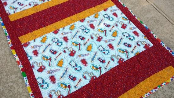 Lap Quilt Med Doctor Nurse Med Student Nursing Home Hospital Bedding Stethoscope Quiltsy Handmade