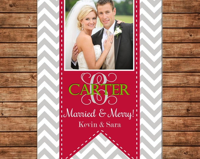 Photo Picture Christmas Holiday Card Chevron with Ribbon Married Wedding - Digital File