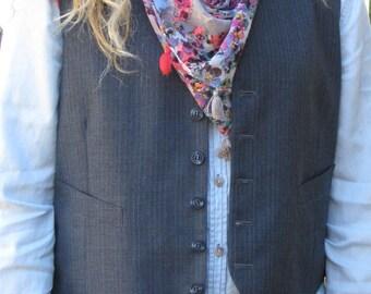 Vintage Menswear Blue Stripe Vest size medium 42R