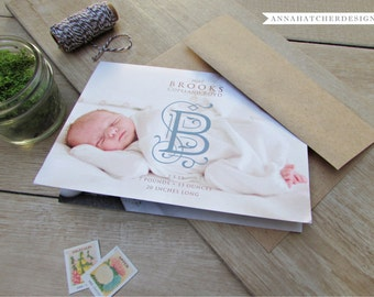 Folded Photo Birth Announcements 7x5 / Monogram, Initial, Scripture or Message / Boy, Girl or Twins / Any Color & Paper / Fast Free Shipping