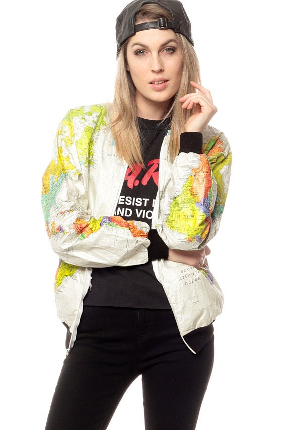 World map jacket 90s tyvek coat ussr white travel bright 80s for sales and promotions follow us here instagram shopexile facebookshopexile world map jacket gumiabroncs Images