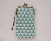 Mint blue Triangle Geometric iPhone wallet fabric ( iPhone 7, iPhone 7 Plus, Samsung Galaxy S7 etc. )