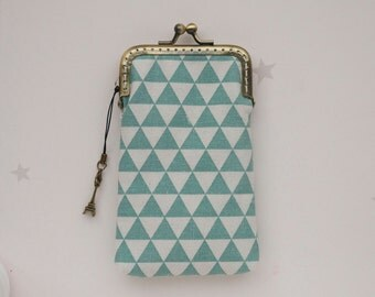 Mint blue Triangle Geometric iPhone wallet fabric / Glasses Case ( iPhone 7, iPhone 7 Plus, Samsung Galaxy S7 etc. )