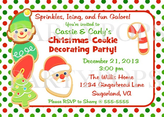 Cookie decorating invitation cookie party cookie exchage party
