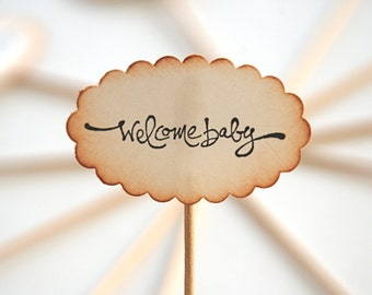 Welcome Baby - Cupcake Toppers/Party Sticks