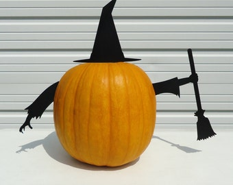 Pumpkin JackOLantern Metal Art Witch Set - Free USA Shipping