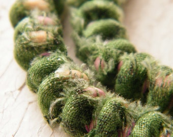 LAST ONE Mossy Bank - boho chic Fabric Covered Bead Cord in green floral cotton - 5 inch cord - handcrafted by Gail (ready to ship)
