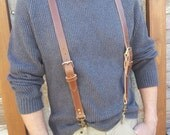 Camel or Caramel Brown Leather Steampunk Suspenders or Braces