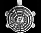 Trigram Turtle Pendant / Necklace - Sacred Symbol Collection - Silver Symbolic Jewelry by K Robins Designs