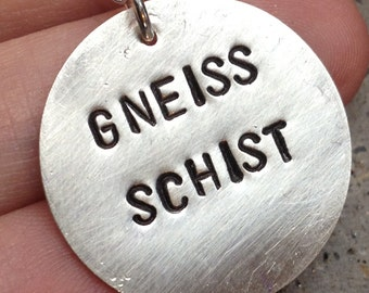 Geology Inspired Gneiss Schist Hand stamped Sterling Silver Disc Necklace Nerdy Science Necklace