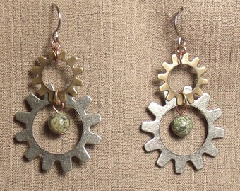 Steampunk gear earrings, mixed metals, olive new jade bead. 061417