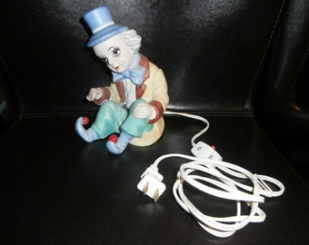 Table Lamp-Night-Light-Clown  Hand Painted- Ceramic Table Lamp ~Working Light
