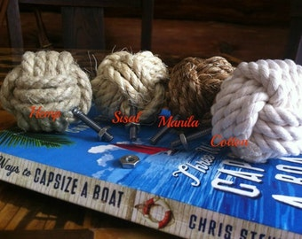 Nautical Decor - 2 Rope Door Knobs - Nautical Drawer Pulls